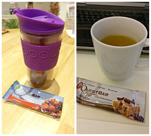 Quest Nutrition bar with a cup of tea at work